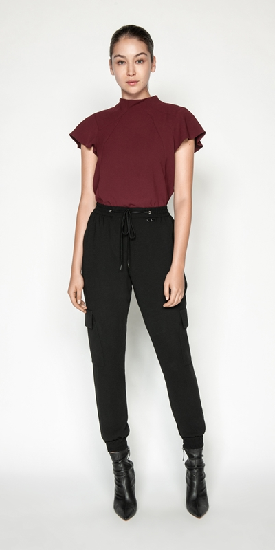 Tops | Crepe Fluted Sleeve Top