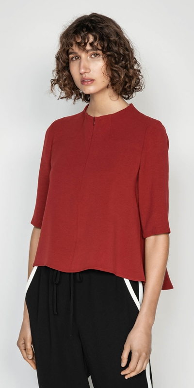 Tops  | Crepe Funnel Neck Top
