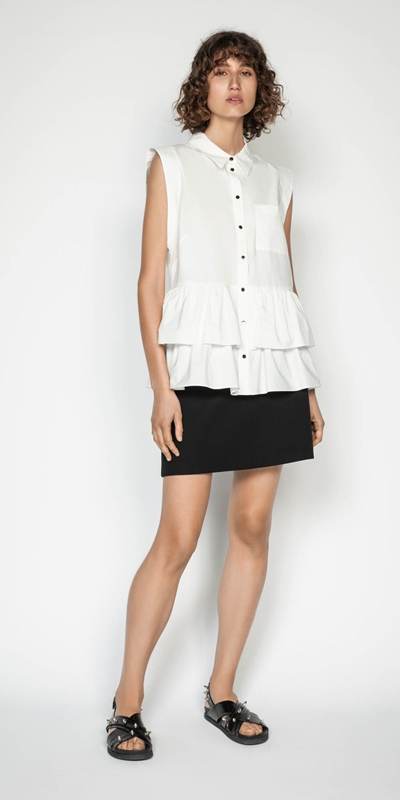Tops | Cotton Double Frill Shirt