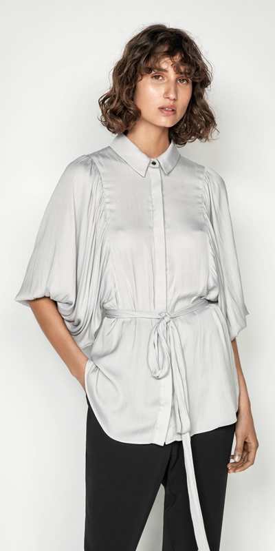 Tops | Satin Balloon Sleeve Shirt