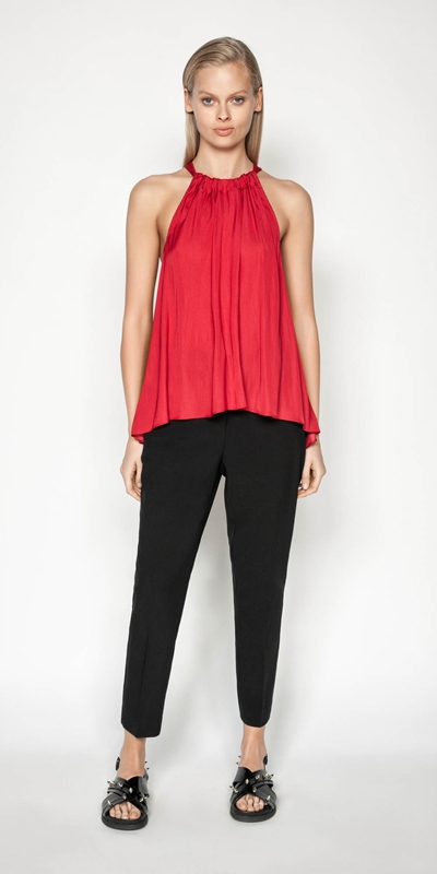 Made in Australia | Satin Tie Neck Trapeze Top