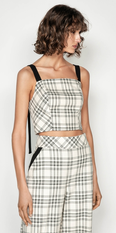 Tops | Cotton Check Bustier