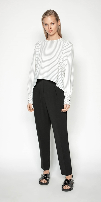 Tops | Pinstripe Blouson Sleeve Top