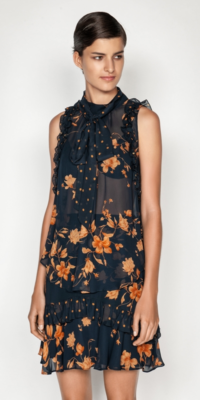 Tops  | Golden Floral Tie Neck Top