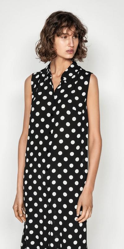 Tops | Spot Viscose Georgette Maxi Shirt