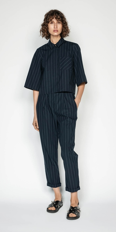 Tops | Cotton Pinstripe Shirt