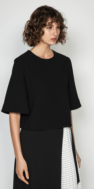 Wear to Work  | Crepe Short Sleeve Top