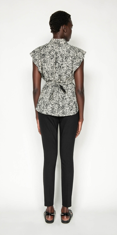 Tops | Animal Spot Belted Shirt