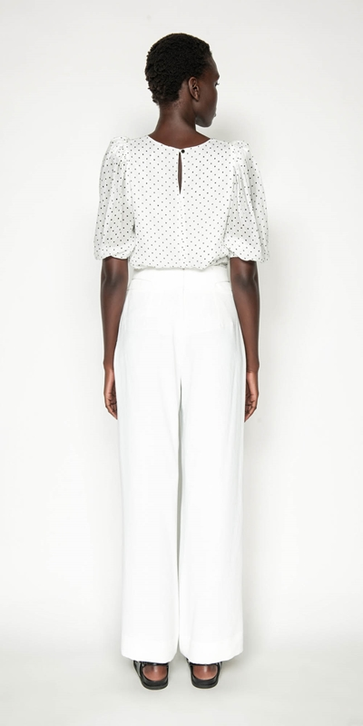 Tops | Spot Blouson Sleeve Top