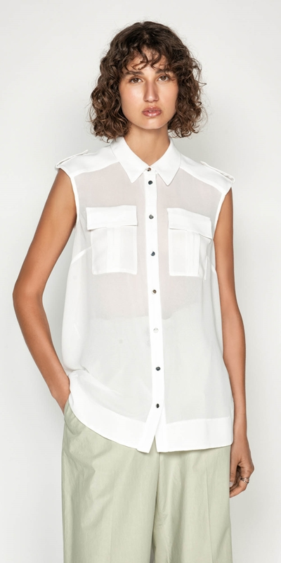 Tops | Georgette Utility Shirt