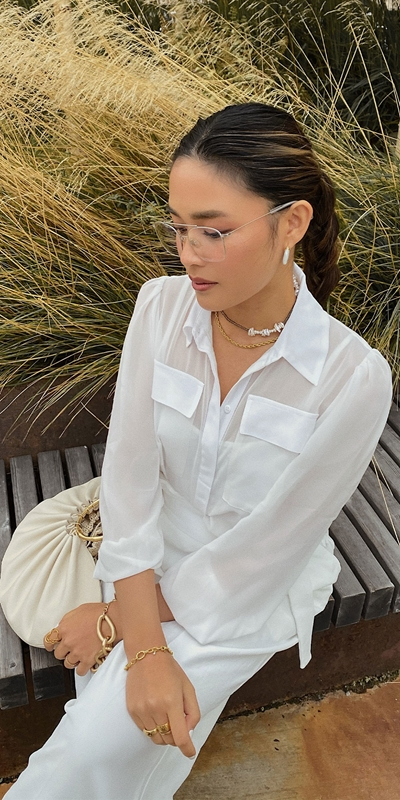 Tops | Sheer Blouson Sleeve Shirt