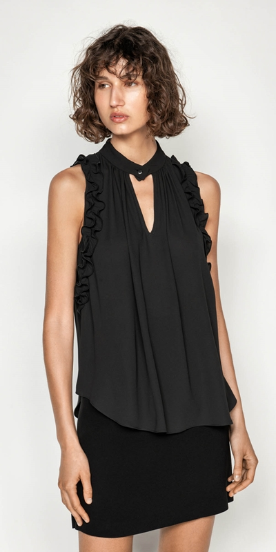 Made in Australia  | Georgette Sleeveless Ruffle Top