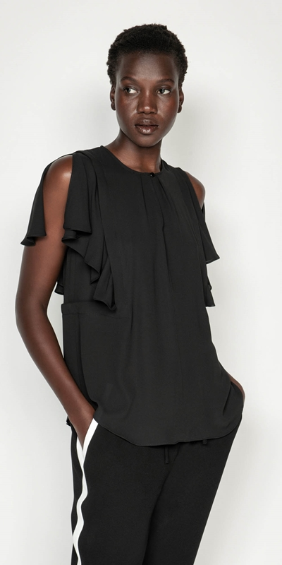 Made in Australia  | Georgette Frilled Split Sleeve Top