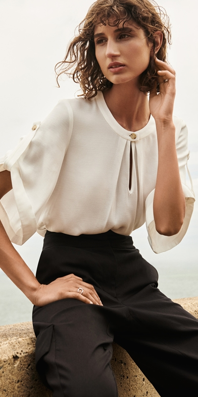 Tops  | Cuffed Sleeve Keyhole Top