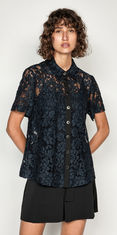 Wear to Work  | Corded Floral Lace Shirt