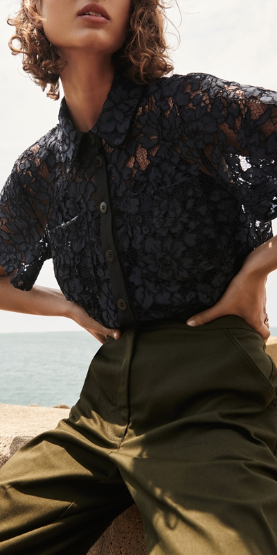 Tops  | Corded Floral Lace Shirt