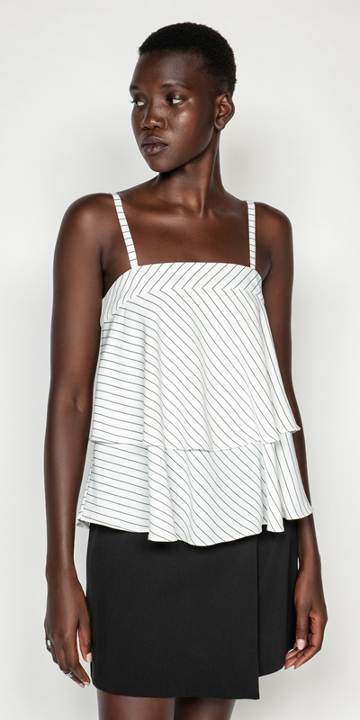 Tops | Pinstripe Tiered Cami