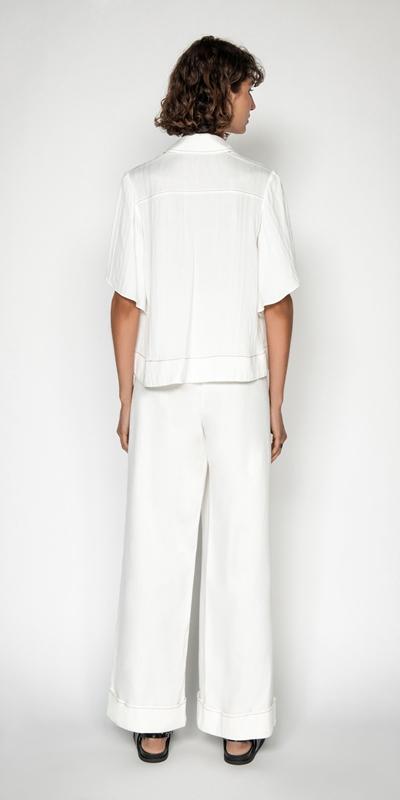 Tops | Fluted Kimono Sleeve Shirt