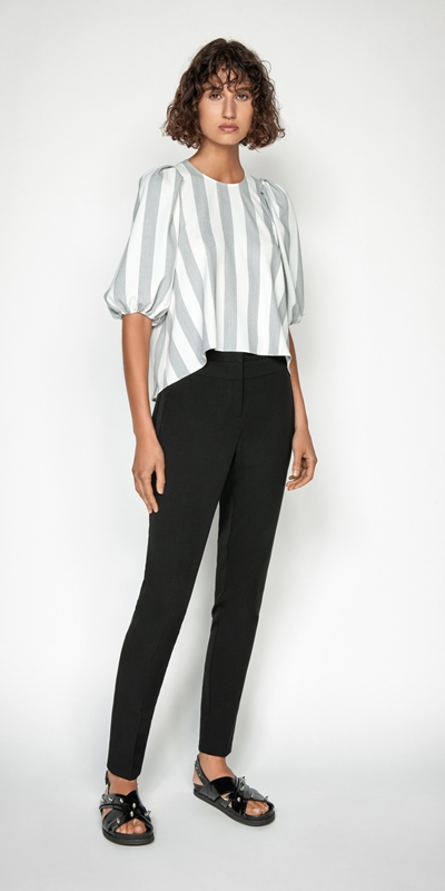 Tops | Soft Stripe Blouson Sleeve Top