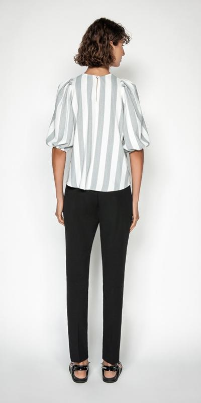 Tops | Soft Stripe Blouson Sleeve Top