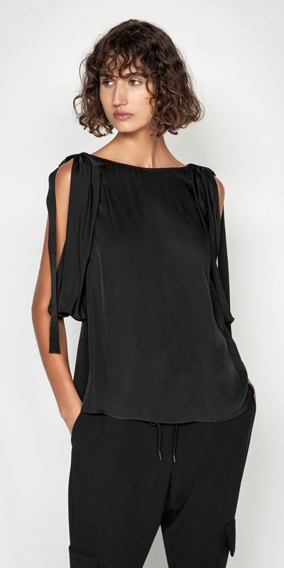 Tops  | Satin Draped Sleeve Top