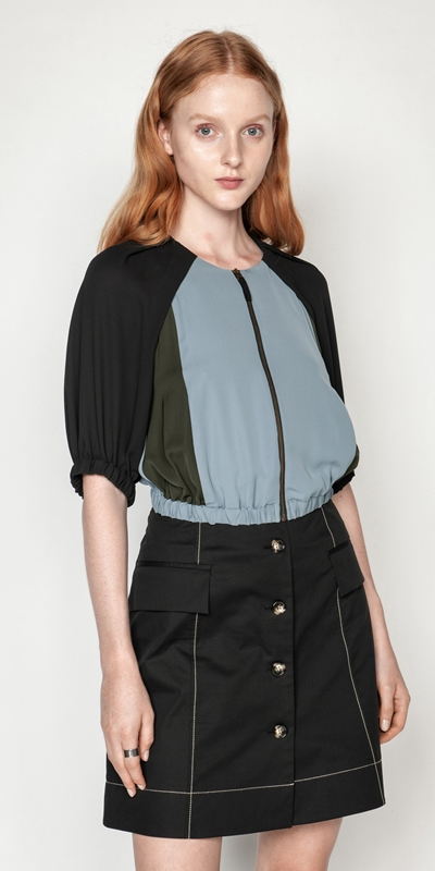 Tops and Shirts | Cropped Zip Front Top