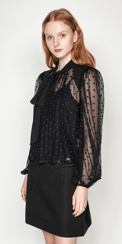 Made in Australia  | Polka Dot Mesh Tie Neck Blouse