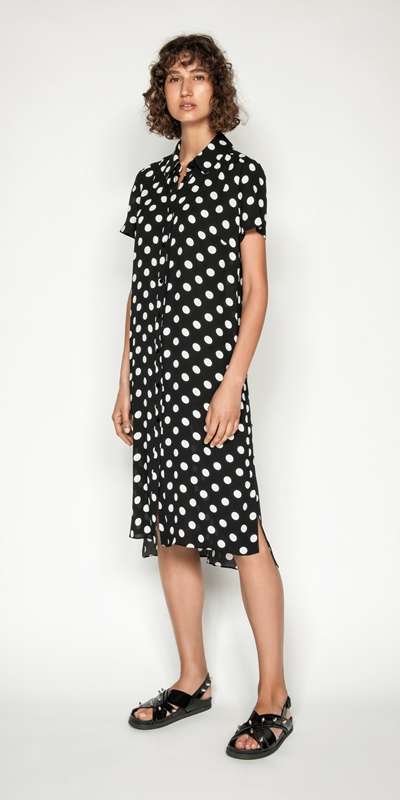 Tops | Spot Viscose Georgette Maxi Shirt