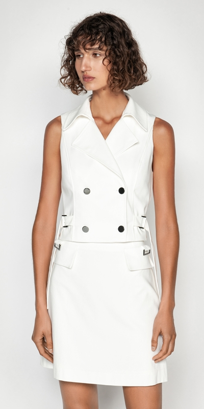 Tops | Cotton Dobby Cropped Utility Vest