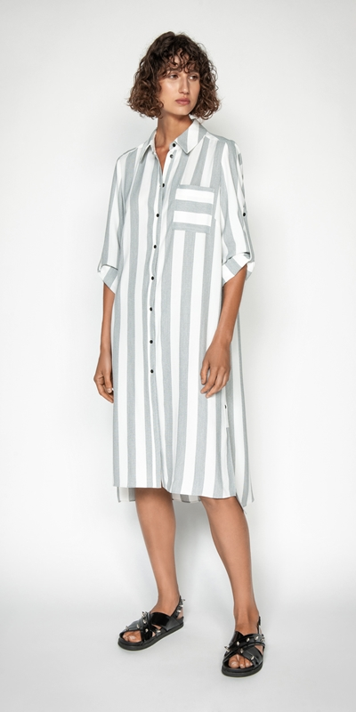 Made in Australia | Soft Stripe Shirt Dress