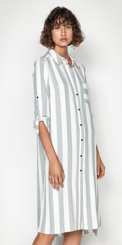 Dresses  | Soft Stripe Shirt Dress