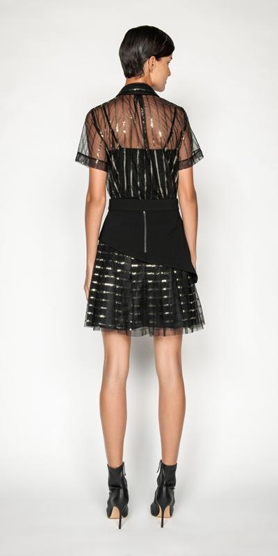Tops and Shirts | Stripe Sequin Mesh Shirt