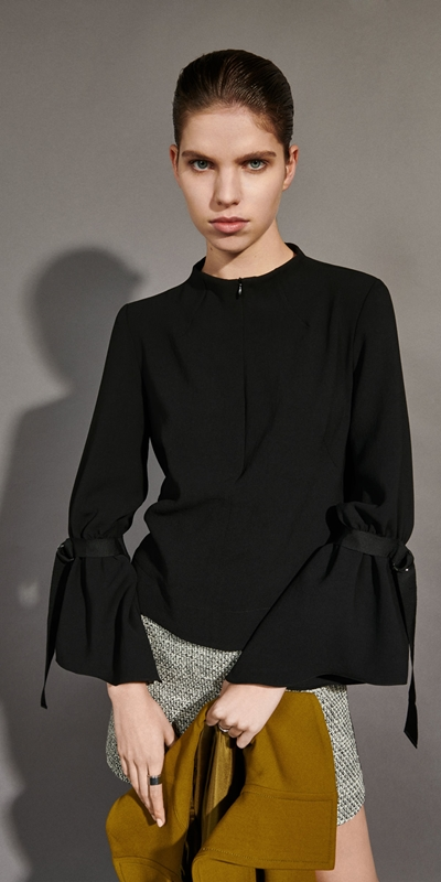 Tops and Shirts  | Crepe Belted Sleeve Top