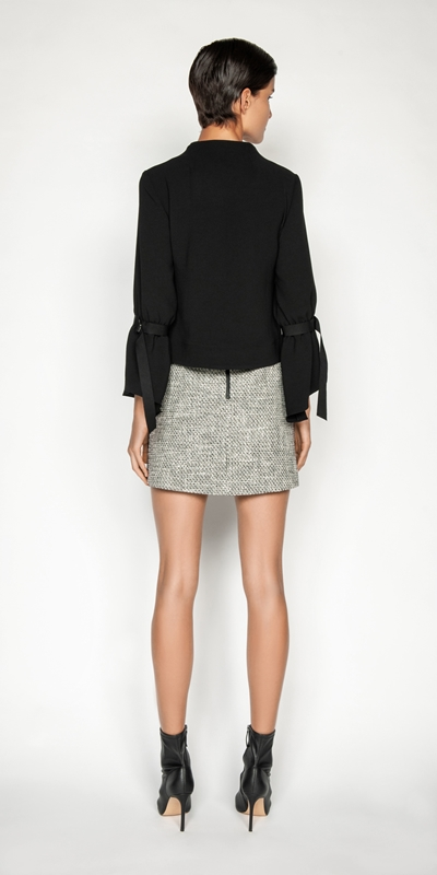 Tops and Shirts   Crepe Belted Sleeve Top
