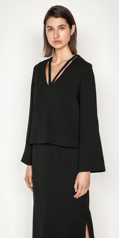 Tops and Shirts  | V-Neck Long Sleeve Top