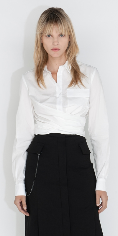 Made in Australia    Cropped Tie Front Shirt