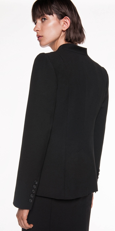 Jackets | Twill Collarless Jacket