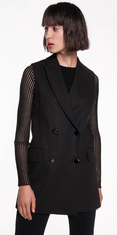 Jackets  | Double Breasted Sleeveless Jacket