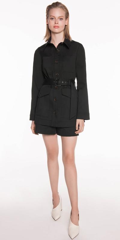 Jackets | Cotton Twill Belted Jacket