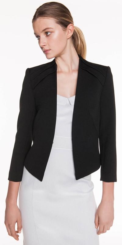 Wear to Work | Collarless Crop Sleeve Jacket