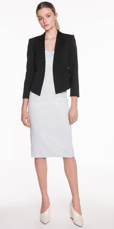 Jackets | Collarless Crop Sleeve Jacket