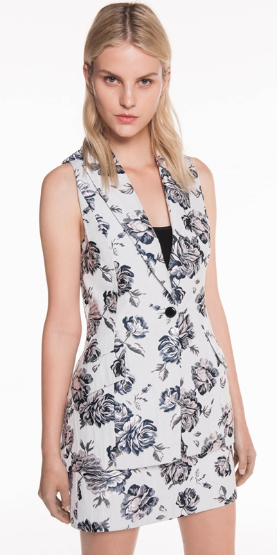 Jackets | Blue Rose Jacquard Sleeveless Jacket