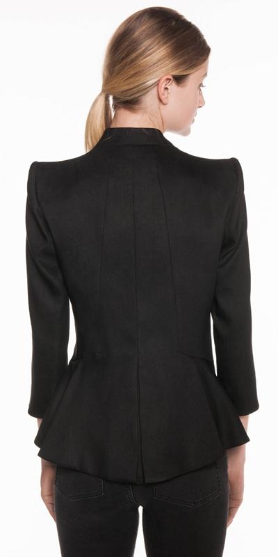 Jackets | Linen Twill Peplum Jacket