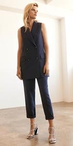 Jackets | Stripe Double Breasted Sleeveless Jacket