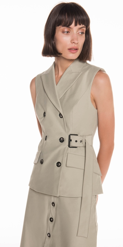 Jackets | Cotton Twill Sleeveless Jacket