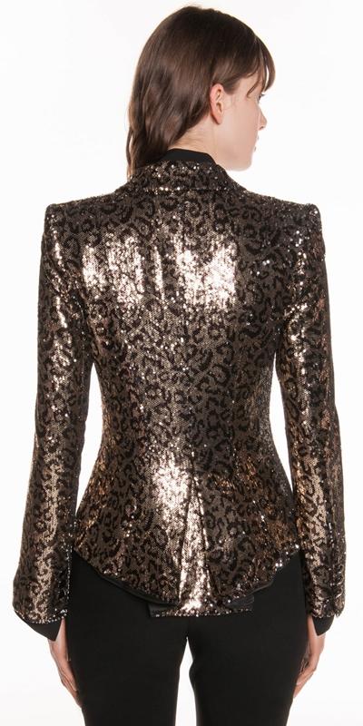 Jackets | Leopard Sequin Tuxedo Jacket