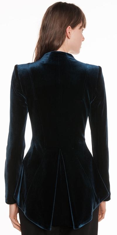 Jackets   Knitted Velvet Zip Front Jacket