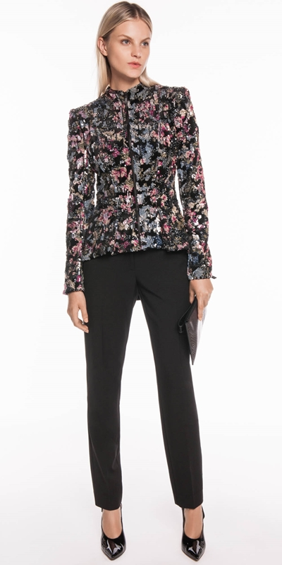 Jackets | Velvet Sequin Zip Front Jacket