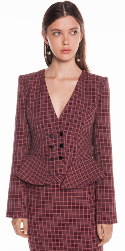 AW19 Curated | Mini Tartan Double Breasted Jacket