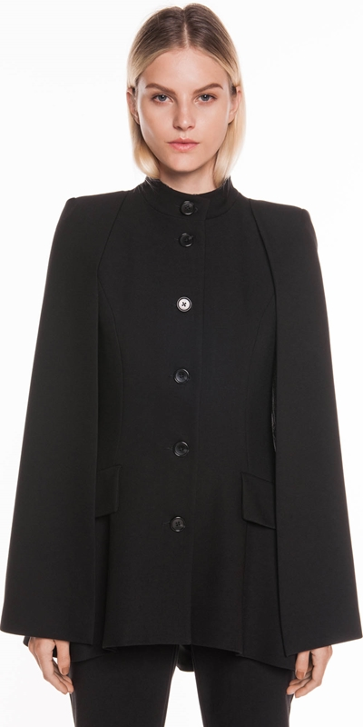 Jackets   Soft Twill Button Front Cape